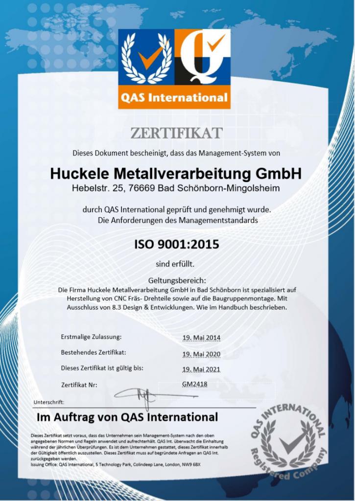 ISO 9001 Zertifikat 2020
